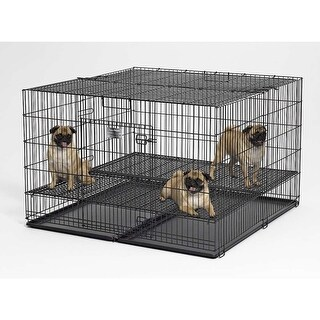 """Midwest Puppy Playpen with Plastic Pan and 1/2"""" Floor Grid Black 48"""" x 48"""" x 30"""""""