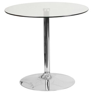 Dyersburg 31.5'' Round Glass Table w/29''H Chrome Base