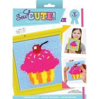 "Sew Cute! Cupcake Needlepoint Kit-6""X6"" Stitched In Yarn"
