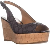 Coach Womens Ferry Semi Matte Calf Peep Toe Casual Slingback Sandals