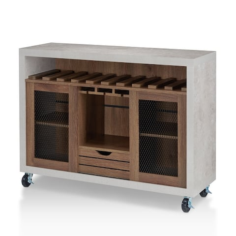 Furniture of America Sene Contemporary Rolling Buffet