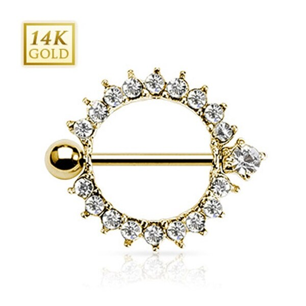 "14 Karat Solid Yellow Gold Sunburst Round Multi CZ Nipple Shield Ring 14GA 5/8"" Long (Sold Individually)"