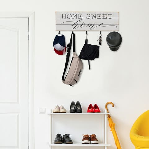 Wood Plank Look Home Sweet Home with 5 Hangers