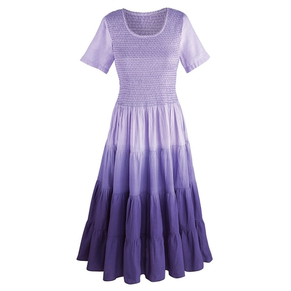 Women's Purple Rainbow Ombre Dress - Short Sleeves Full Skirt