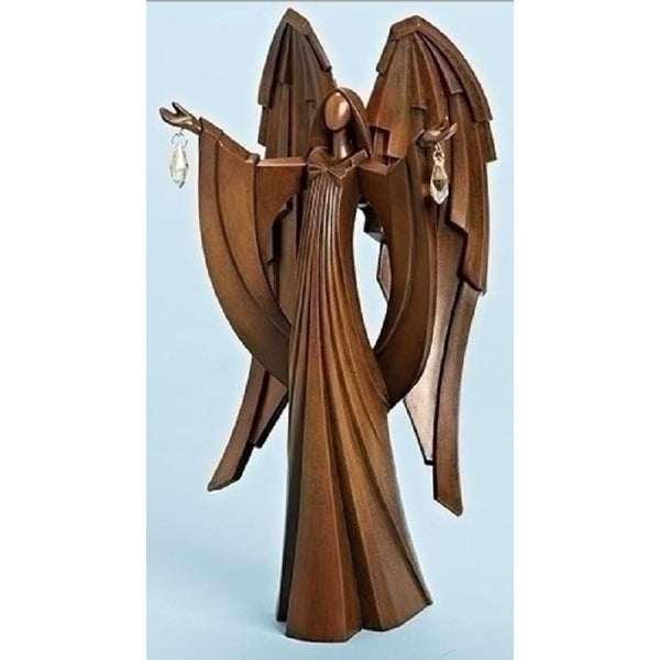 "12.75"" Faux Wood Angel with Jewels Inspirational Christmas Tabletop Figure - brown"
