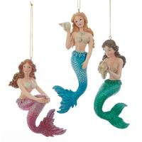 Pretty Mermaids Pink Green and Blue Christmas Holiday Ornaments Set of 3