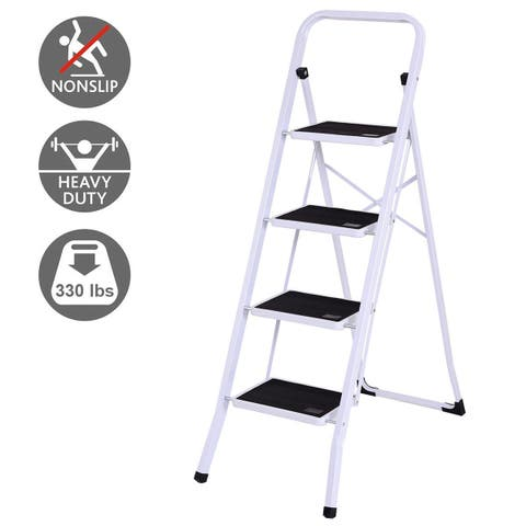 Gymax 4 Step Ladder Folding Steel Step Stool Anti-slip Heavy Duty with 330Lbs Capacity
