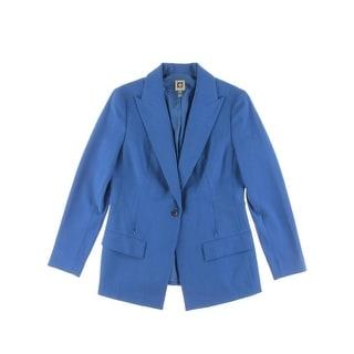 Anne Klein Womens One-Button Blazer Peak Lapel Zipper Pockets