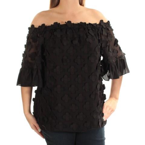 ALFANI $90 Womens New 1153 Black Short Sleeve Off Shoulder Casual Top 14 B+B
