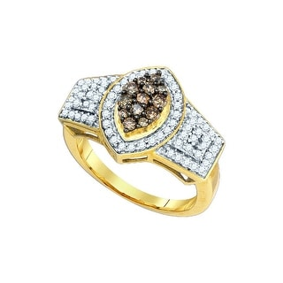 10kt Yellow Gold Womens Round Natural Diamond Crossover Band Fashion Ring 1/10 Cttw - Brown/White