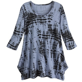 Women's Tie-Dyed A-Line 3/4 Quarter Sleeve Tunic Top