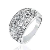 Bling Jewelry Pave CZ Vintage Style XO Hugs and Kisses Band Ring 925 Sterling Silver