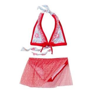 Azul Little Girls Red Blue Floral The Girl Next Door Bikini Halter Swimsuit