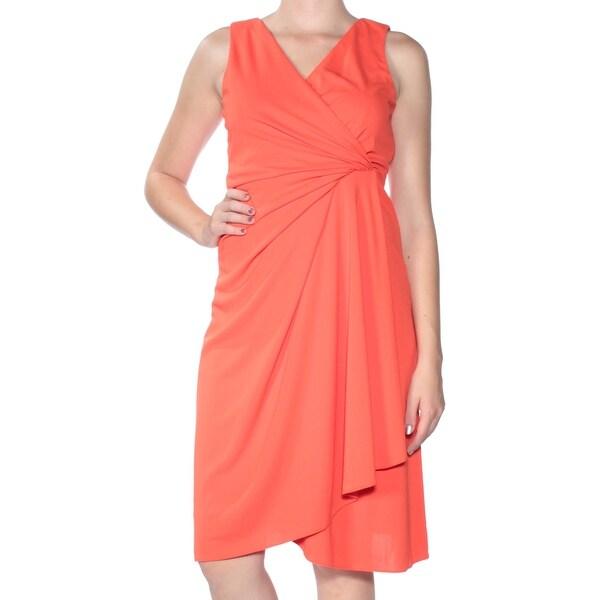 Shop Dkny Womens Orange Sleeveless V Neck Below The Knee