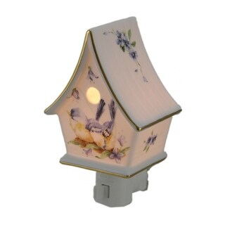 Bluebird Garden Porcelain Bird House Plug In Night Light - White