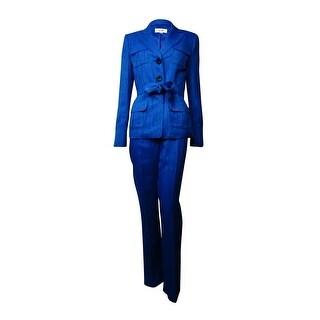 Le Suit Women's Belted Notch Lapel Three Button Woven Pant Suit - Sea blue