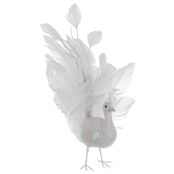 "10"" Regal Peacock White Glitter Winter Frost Fancy Tail Bird Christmas Ornament"