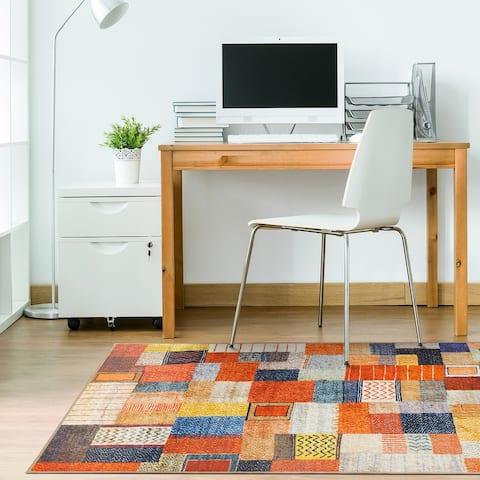 My Magic Carpet Machine Washable Rug Patchwork Multicolor