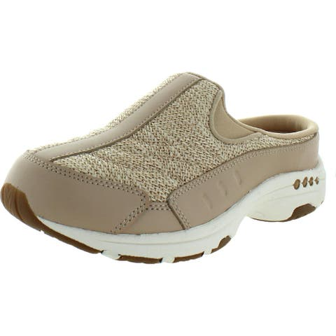 Easy Spirit Womens Traveltime 424 Slip-On Sneakers Leather Trainers - Light Natural
