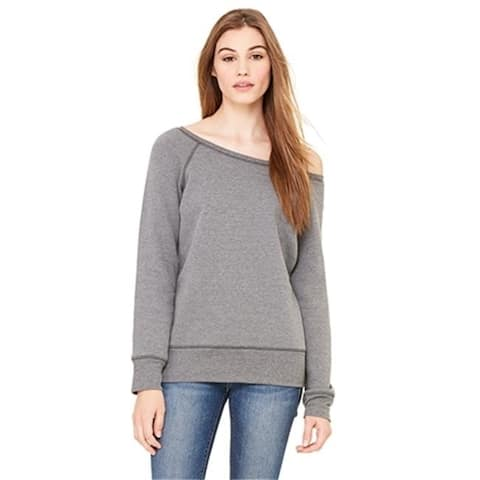 Bella 7501 Womens Sponge Fleece Wide Neck Sweatshirt - Deep Heather Small