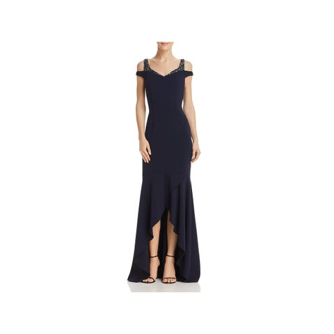 Adrianna Papell Womens Evening Dress Off-The-Shoulder Hi-Low