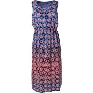 Vince Camuto Womens Plus Printed Sleeveless Maxi Dress