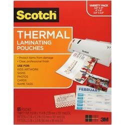 "(35) Letter; (15) 4""X6"" & (15) Wallet - Variety Thermal Laminator Pouches 65/Pkg"