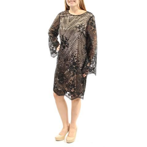 TAHARI Black Bell Sleeve Knee Length Shift Dress Size 4
