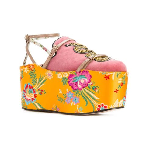 Gucci Women's Leather Convertible Embellished Velvet & Jacquard Platform Slippers Yellow