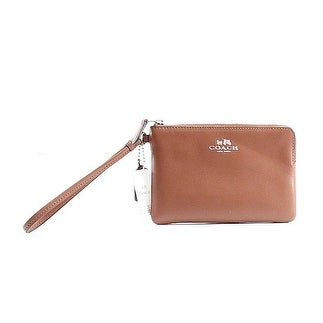 Coach NEW Brown Saddle Smooth Leather Boxed Corner Zip Wristlet Wallet