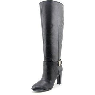 Enzo Angiolini Sumilo Wide Calf Women Round Toe Leather Black Knee High Boot
