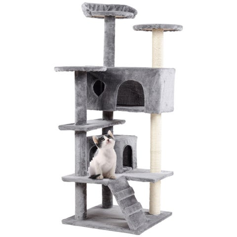 Gymax 52'' Cat Tree Kitten Tower with Scratching Post and Ladder Condo Play House Gray