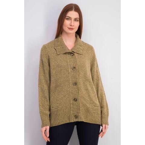 Karen Scott Women's Button-Front Shawl-Collar Cardigan Brown Size Large