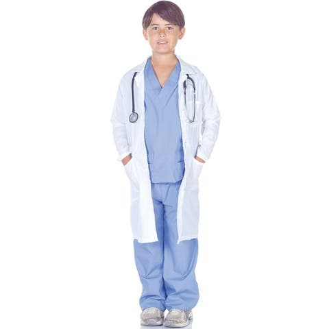 Underwraps Doctor Scrubs with Lab Coat Child Costume - Solid