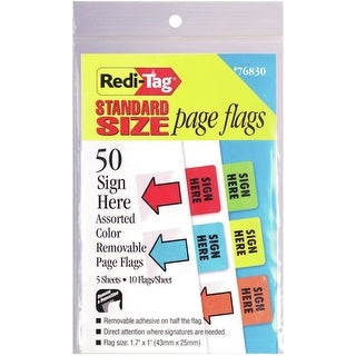 Redi-Tag Standard Page Flags - Sign Here 50/Pkg-Red, Blue, Green, Yellow & Orange