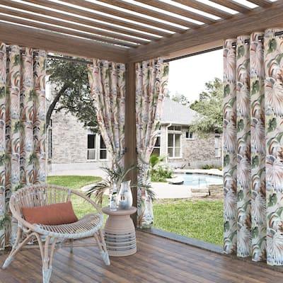 Sun Zero Fiji Botanical Print Indoor Outdoor UV Protectant Room Darkening Grommet Curtain Panel