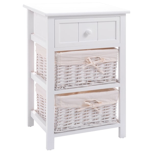 Costway Night Stand 3 Layer 1 Drawer Bedside End Table Organizer Wood W/2 Basket