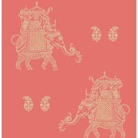 Brewster 1014-001838 Ophelia Coral Elephant Wallpaper - ophelia coral elephant