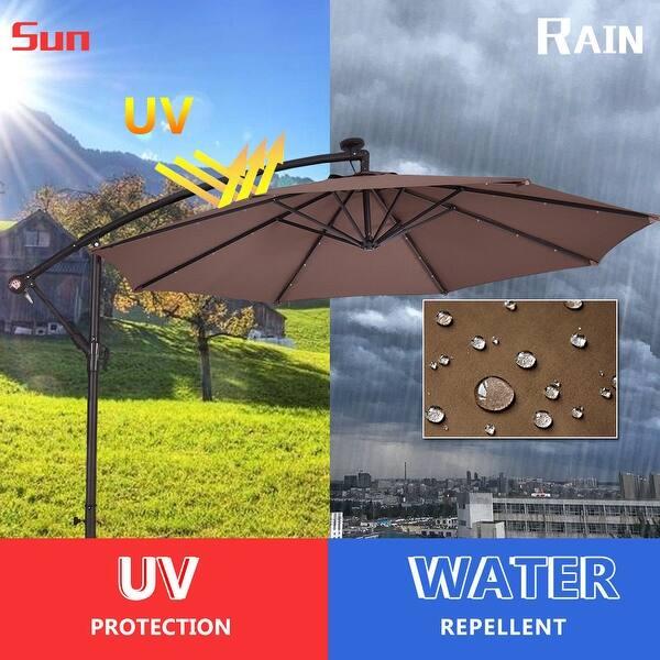 09260cbda13d Shop Costway 10' Hanging Solar LED Umbrella Patio Sun Shade Offset ...