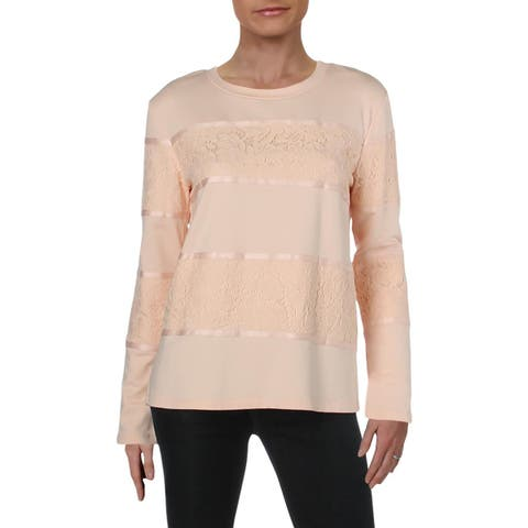 Karl Lagerfeld Womens Ongoing Blouse Lace Long Sleeves