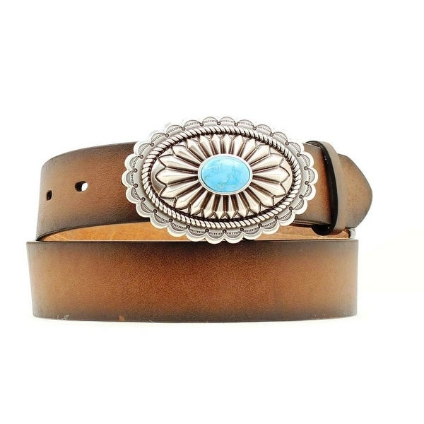 Ariat Western Belt Womens Leather Oval Turquoise Stone Brown