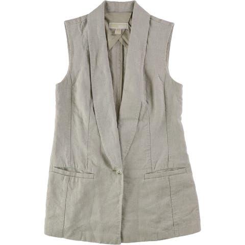 Michael Kors Womens Heathered Outerwear Vest, Beige, 2