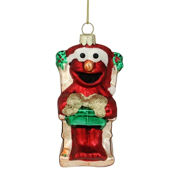 "4.5"" Sesame Street Glittered Red Elmo Sitting in a Rocking Chair Holding a Gift Christmas Ornament"