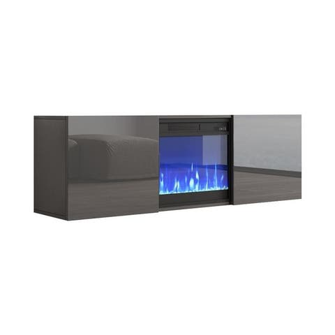 "Tahoe Wall Mounted Electric Fireplace Modern 58"" TV Stand"