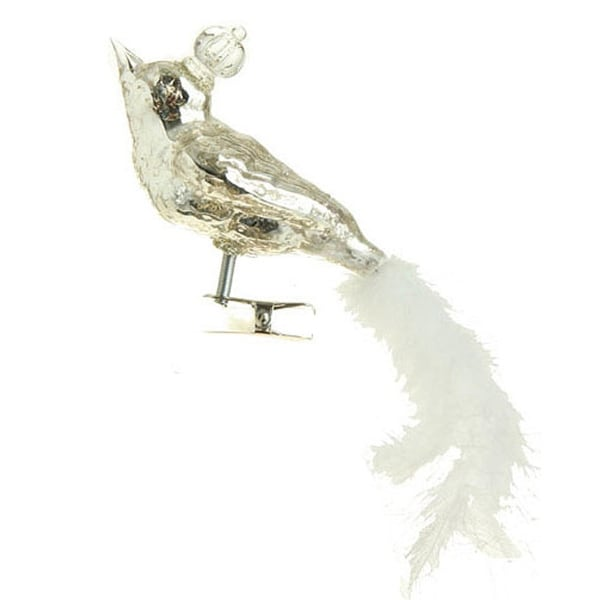 "6"" Speckled Glass King Bird with Faux Feather Tail Clip-On Christmas Ornament"