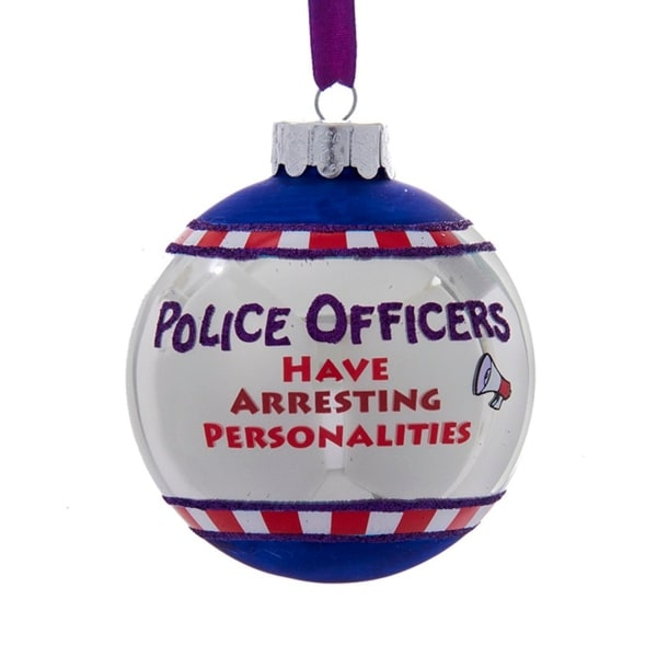 "3"" Glittered ""Police Officers Have Arresting Personalities"" Christmas Ball Ornament - WHITE"