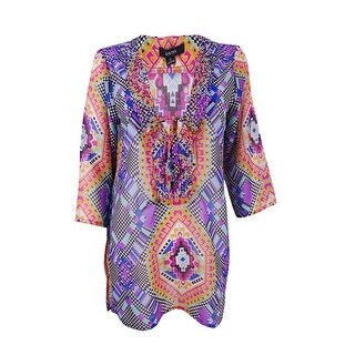 Raviya Women's Printed Beaded Tunic Cover-Up - multi