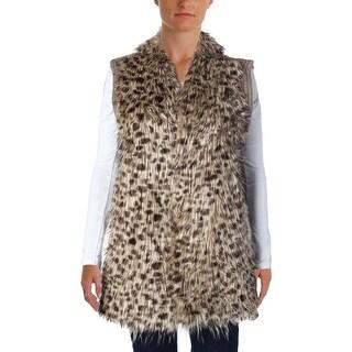 Sioni Womens Faux Fur Knit-Back Vest