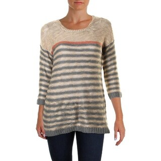 Pink Rose Womens Juniors Pullover Sweater Hi-Low Striped