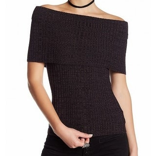 Free People NEW Black Womens Size Medium M Off-Shoulder Ribbed Sweater